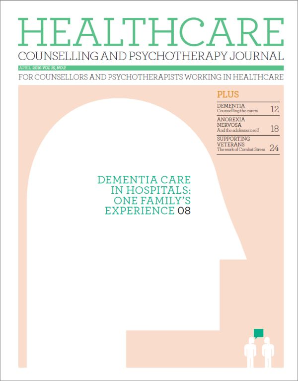 Cover of Healthcare Counselling and Psychotherapy Journal April 2016