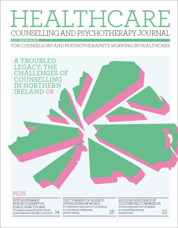 Cover of Healthcare Counselling and Psychotherapy Journal July 2016