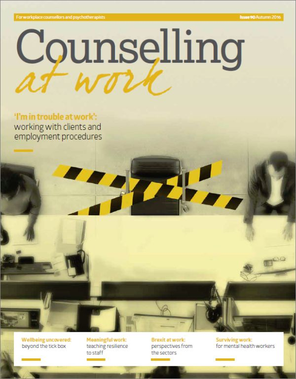 Cover of Counselling at Work Autumn 2016