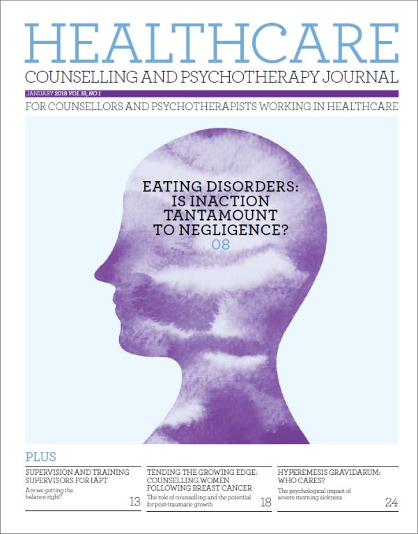 Cover of Healthcare Counselling and Psychotherapy journal, January 2018 issue