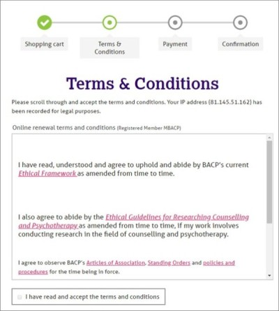 Terms and conditions screen