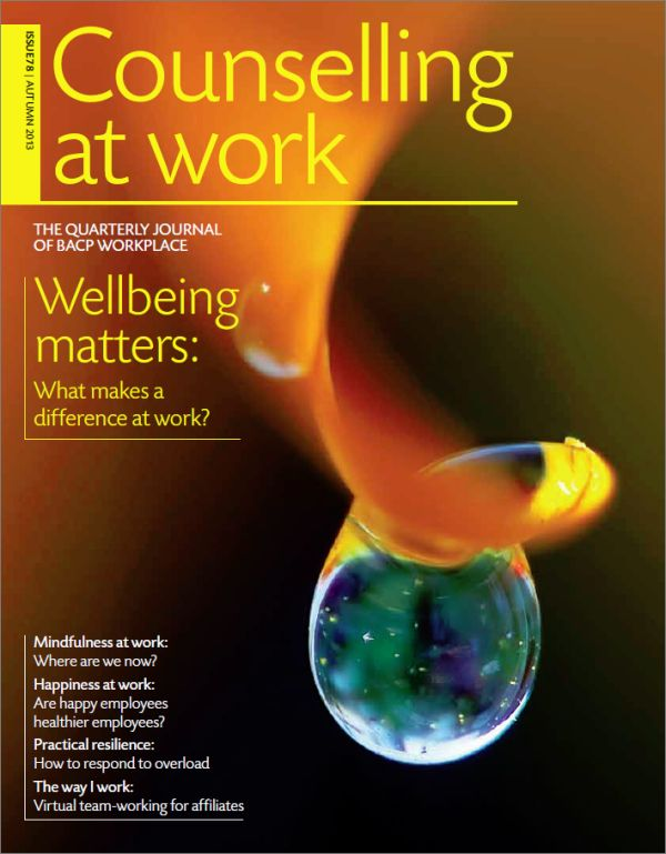 Cover of Counselling at Work, Autumn 2013