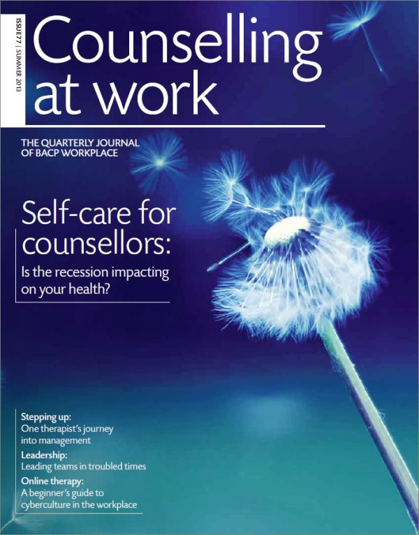 Cover of Counselling at Work, Summer 2013