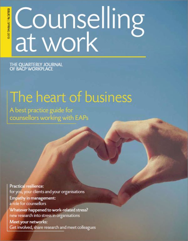 Cover of Counselling at Work, Spring 2013 issue