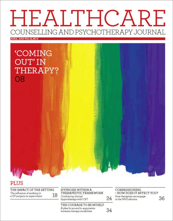 Cover of Healthcare Counselling and Psychotherapy Journal, April 2013 issue