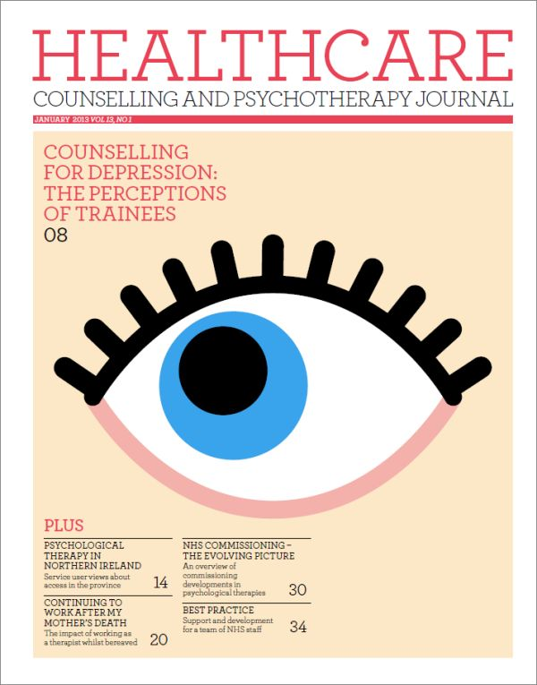 Cover of Healthcare Counselling and Psychotherapy Journal, January 2013