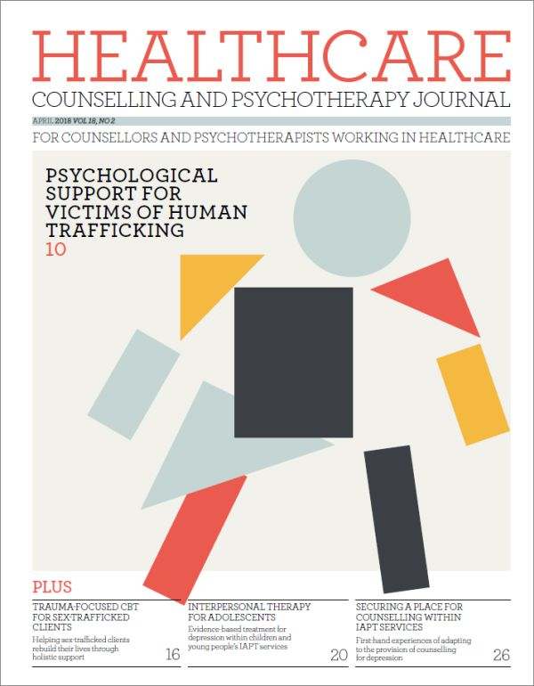 Cover of Healthcare Counselling and Psychotherapy Journal, April 2018