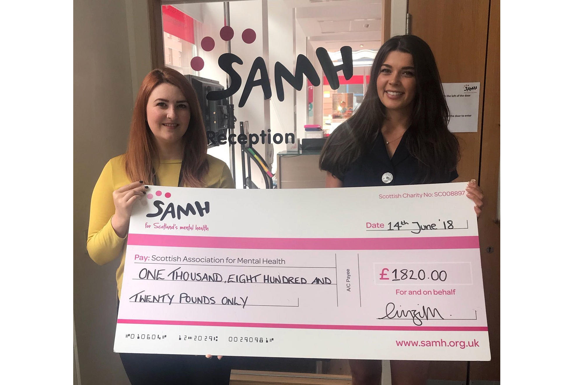 Miss Scotland Linzi McLelland presenting a cheque to the Scottish Association for Mental Health (SAMH) earlier this year