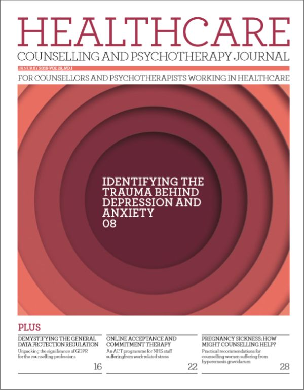 Cover of Healthcare Counselling and Psychotherapy Journal, January 2019