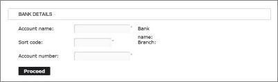 Bank details screen shot
