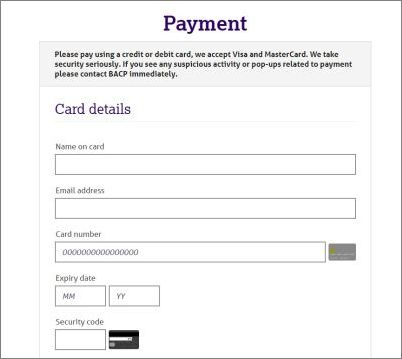 Screen shot of credit card payment process